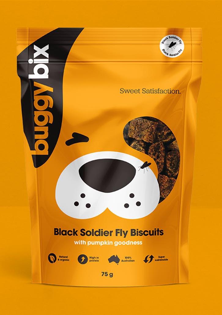 Creative Packaging Design project for pet care products brand Buggy Bix, Sydney, Australia, portrait image J