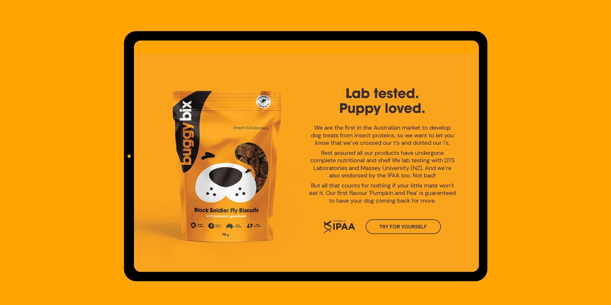 Website Design project image for pet food website design by Percept creative agencies Sydney, case study image C