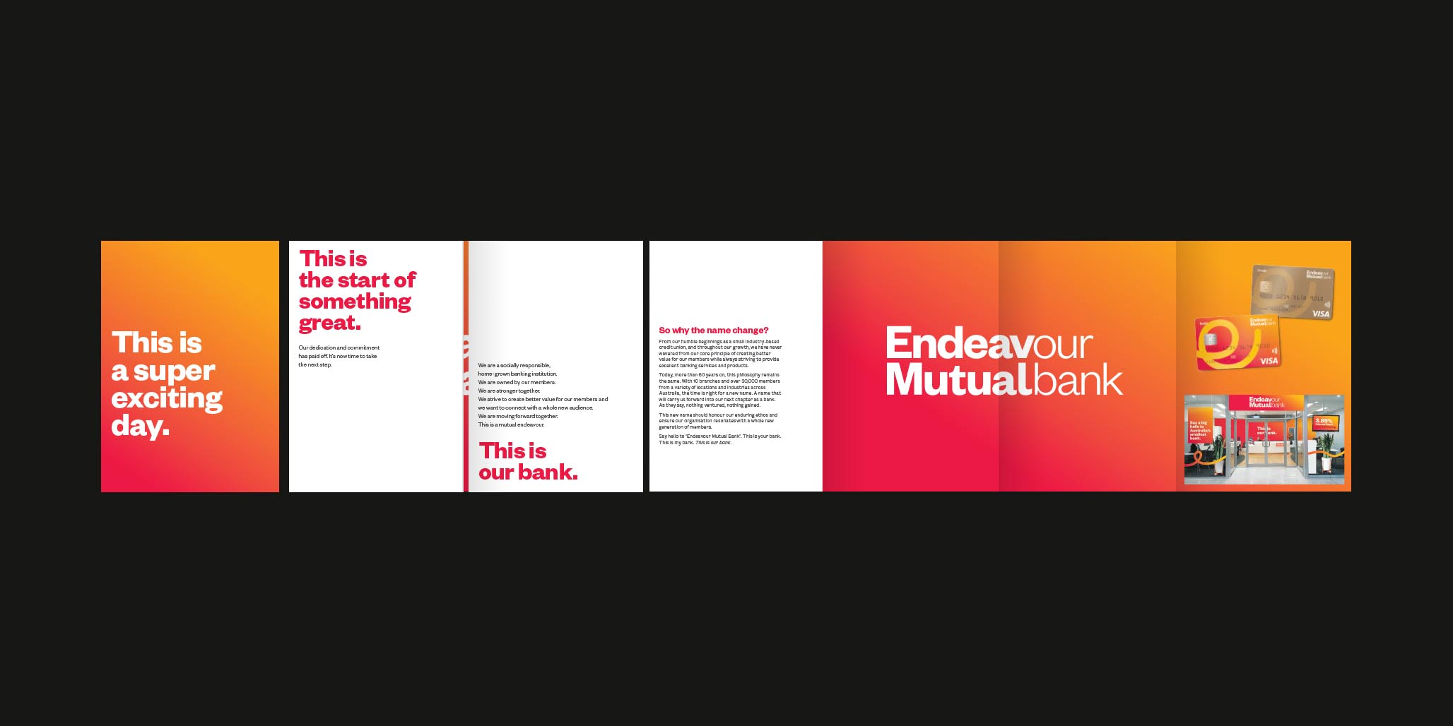 Rebranding, Brand Identity Design & Roll-out project for financial services company, Endeavour Mutual Bank, Sydney, Australia, image O