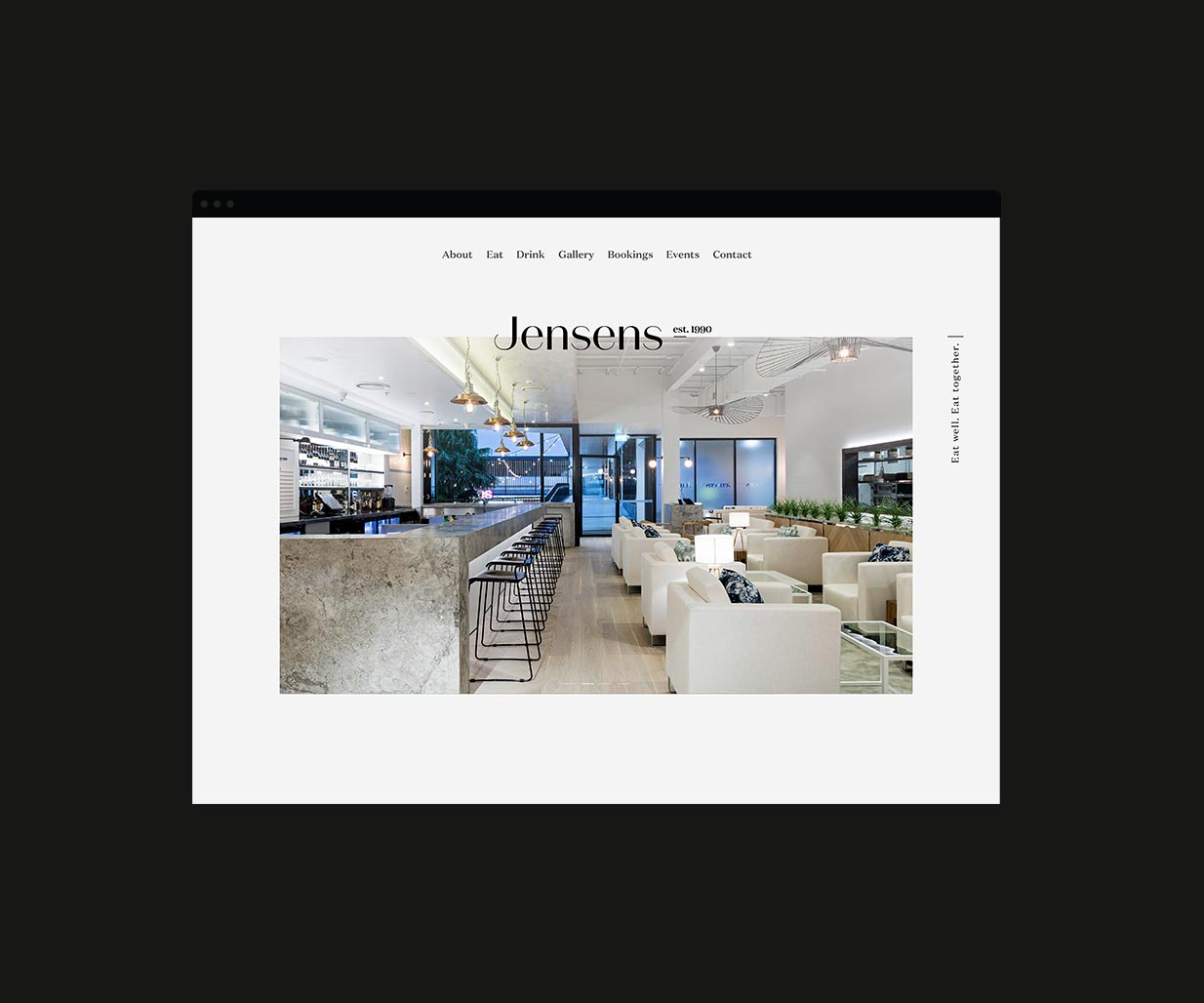 Brand & Website Design project in Sydney for hospitality venue Jensens Restaurant, a leader in the food service industry of Australia, image B