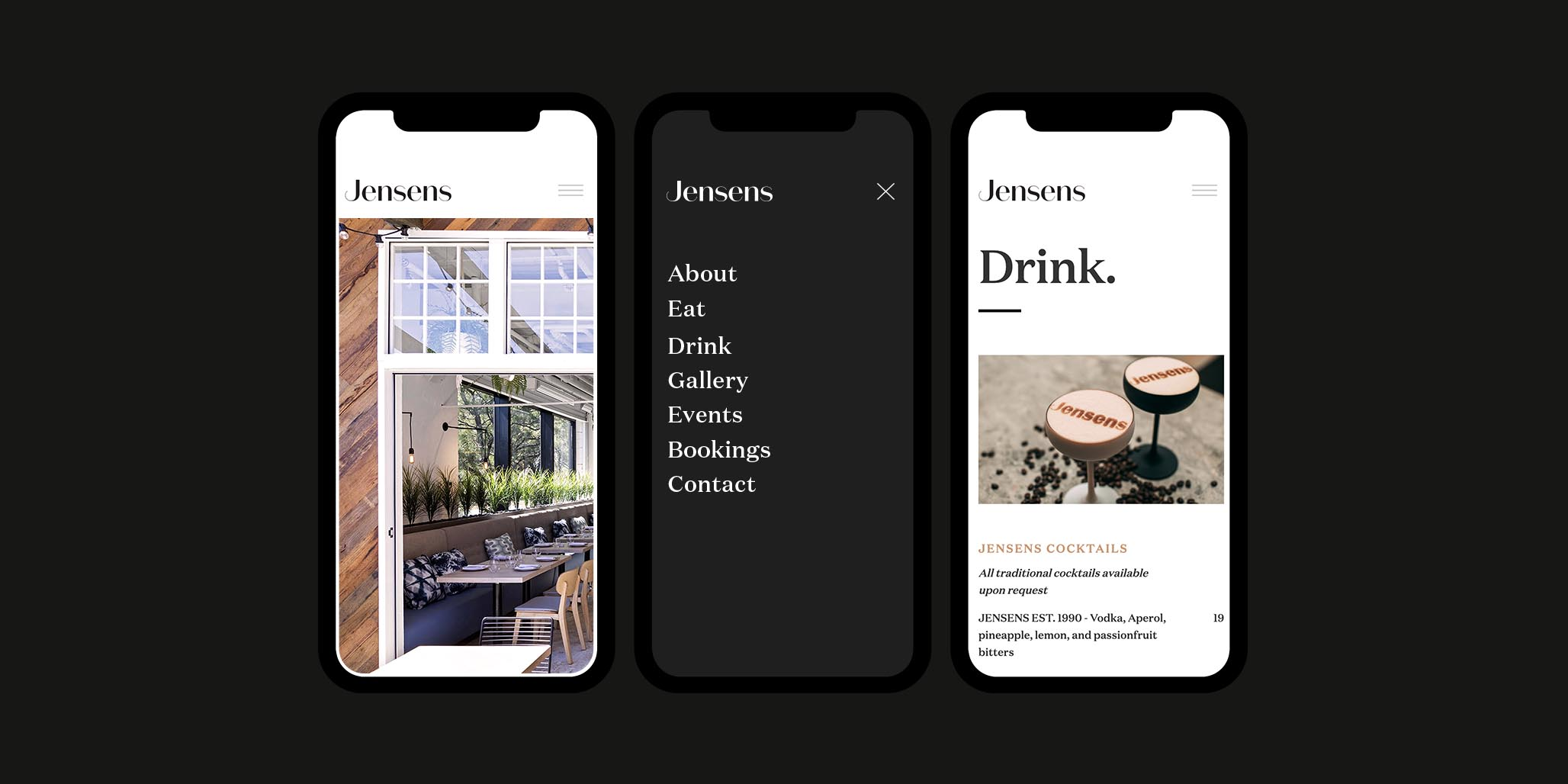 Brand & Website Design project in Sydney for hospitality venue Jensens Restaurant, a leader in the food service industry of Australia, image G