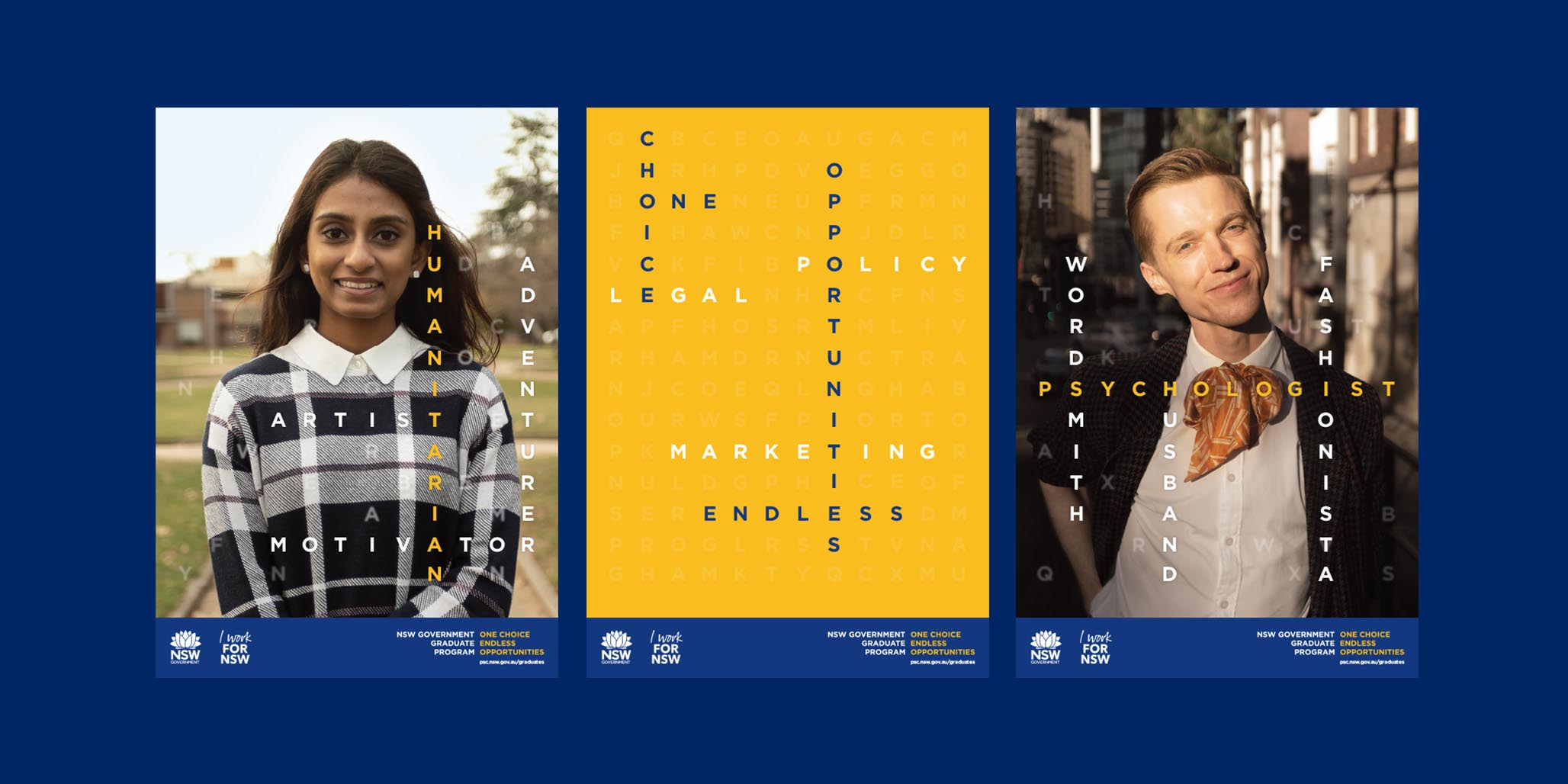 Brand Identity & Creative Campaign Design project for NSW Government Agency to promote professional services employment and career opportunities in Sydney & Australia, image H