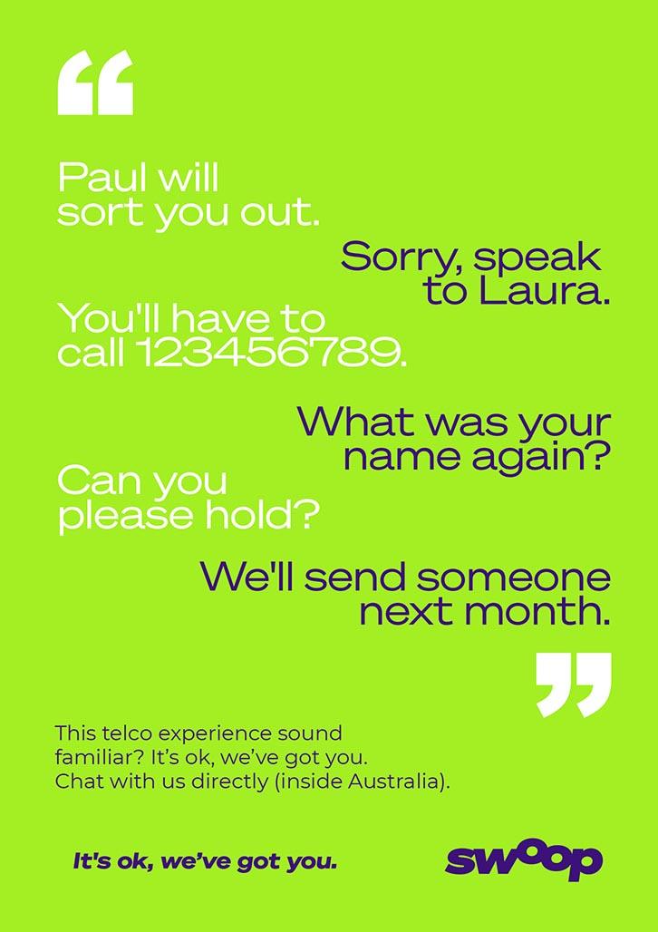 Brand Agency, Percept, create Brand Identity for Swoop, an Australian telco company, image J