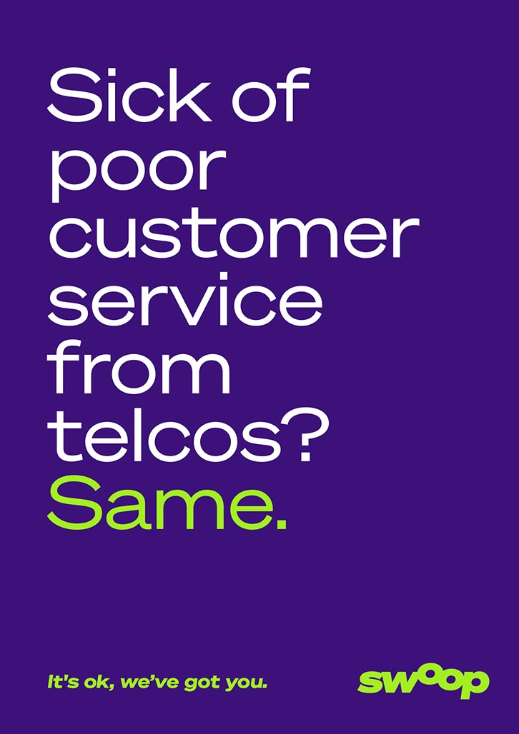 Brand Agency, Percept, create Brand Identity for Swoop, an Australian telco company, image K