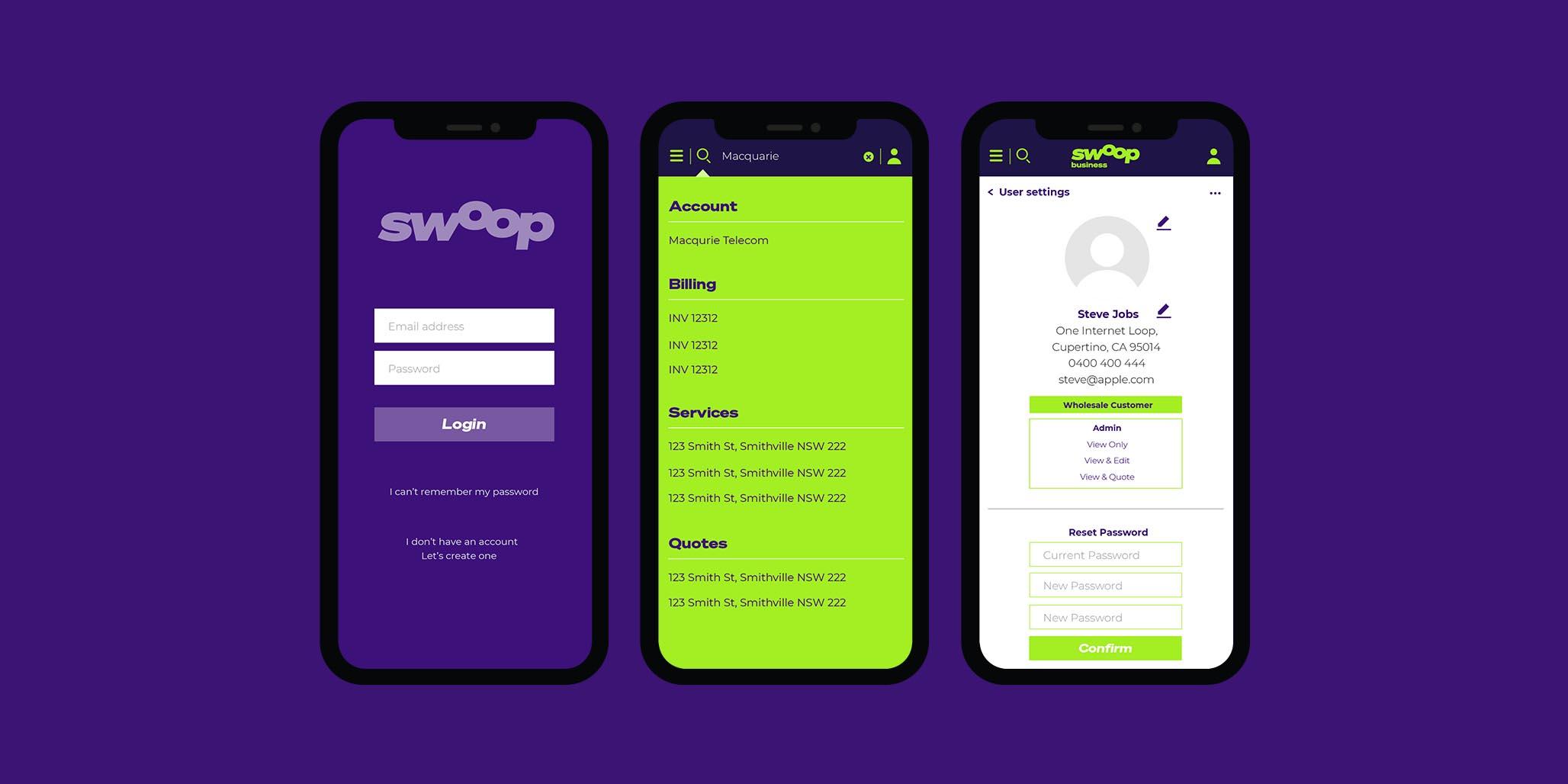 Brand Agency, Percept, create Brand Identity for Swoop, an Australian telco company, image L